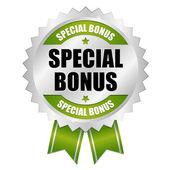 Big green special bonus button — Stock Vector