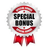 Big red special bonus button — Stock Vector