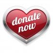 Big red donate now heart button — Stock Vector