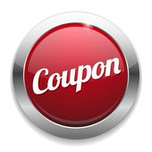 Big red coupon button — Stock Vector