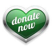 Big green donate now heart button — Stock Vector