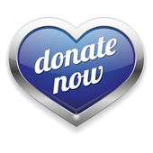 Big blue donate now heart button — Stock Vector