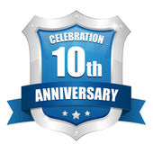 10 years anniversary button — Stock Vector