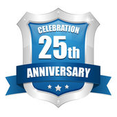 25 jaar verjaardag knop — Stockvector