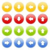 Colorful round button with arrow — Vector de stock