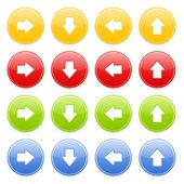 Kleurrijke ronde knop met pijl — Stockvector
