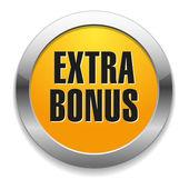 Big yellow metallic extra bonus button — Stock Vector