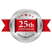 Red twenty five year anniversary seal — Stock Vector