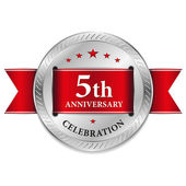 Red fifth year anniversary seal — Stock Vector
