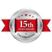 Rot 15 Jahr Jubiläum Siegel — Stockvektor