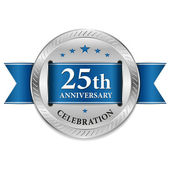 Blue twenty five year anniversary seal — Stock Vector