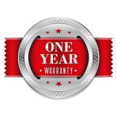 Red 1 year warranty button — Vecteur