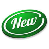 大きな緑色の新しいボタン — ストックベクタ