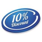 Ten percent discount button — Stock Vector