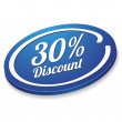 Blue thirty percent discount button — Stock Vector