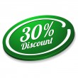 Green thirty percent discount button — Stock Vector