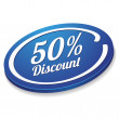 Blue fifty percent discount button — Stock Vector