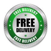 Round green free delivery button — Stock Vector