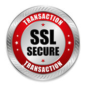 Big red secure transaction button — Stock Vector