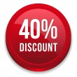 Red 40 percent discount button — Stock Vector