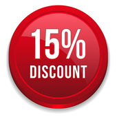 Red fifteen percent discount button — Stockvektor