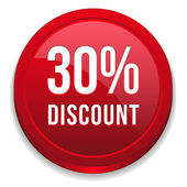 Red 30 percent discount button — Stockvektor
