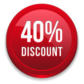 Red 40 percent discount button — Stockvektor