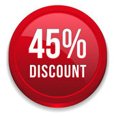 Red forty-five percent discount button — Stock Vector