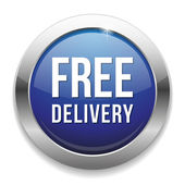 Blue free delivery button — Stock Vector