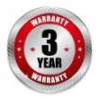 Stock Vector: Red 3 year warranty seal