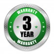 Stock Vector: Green 3 year warranty seal