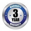 Stock Vector: Blue 3 year warranty seal