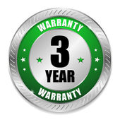 Green 3 year warranty seal — Stock Vector