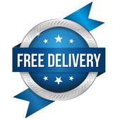 Round free delivery button — Stock Vector