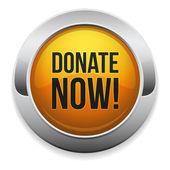 Donate now button — Stock Vector