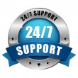 Stock Vector: Blue 24 hour support button