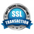 Stock Vector: Blue SSL Secure transaction button