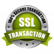 Stock Vector: Big green secure transaction button