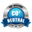 Big blue carbon dioxide neutral button — Stock Vector