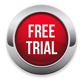 Big red free trial button — Stock Vector