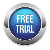Big blue free trial button — Stock Vector