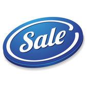 Big blue sale button — Stock Vector