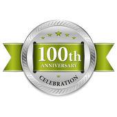 Green 100 year anniversary seal — Stock Vector