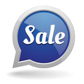 Big round blue sale speech bubble — Stock Vector