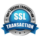 Blue SSL Secure transaction button — Stock Vector