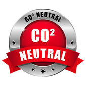 Big red carbon dioxide neutral button — Stock Vector