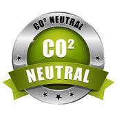 Big green carbon dioxide neutral button — Stock Vector