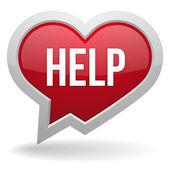 Help heart speech bubble — Stock Vector