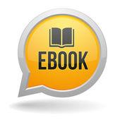 Yellow ebook speach bubble — Stock Vector