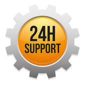 24 hour support gear button — Stock Vector